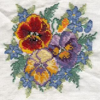 flower bouquet of pansies in cross-stitch   Visit my art pho…   Flickr