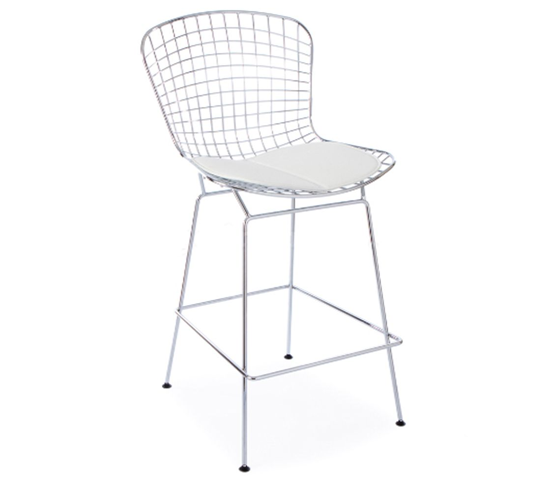 Harry Bertoia Style Wire Bar Stool With White Seat Cushion