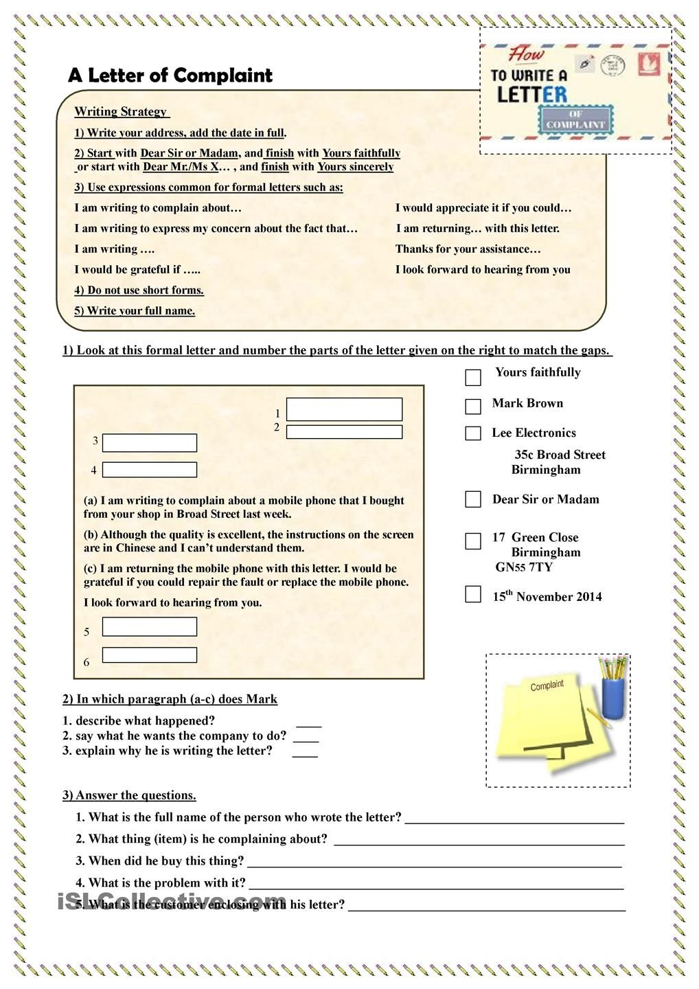 How To Write A Letter Of Complaint  Teaching Ideas