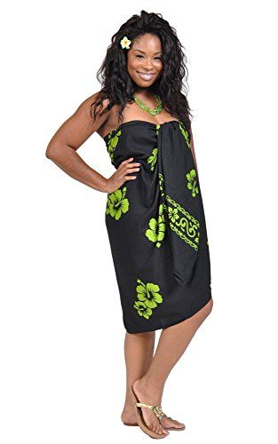 1 World Sarongs Womens Premium Fringeless Hibiscus PLUS Size Sarong in Black/Lime Green. A beautiful Hibiscus floral sarong with plenty of wrap around material. Versatile for a flirty beach cover-up, a shawl or wear as a dress. Design, color and size may vary, due to the exceptional handmade process. Composed of a top quality rayon with a silky smooth texture. One size will fit most at 96 by 44 inches (244 cm x 112 cm).
