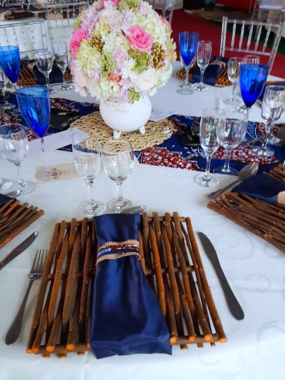 African traditional blue cream gold wedding decor by for African wedding decoration theme