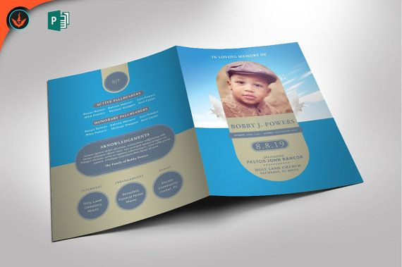 Baby Blue Funeral Program Publisher Template  Pages X Folded