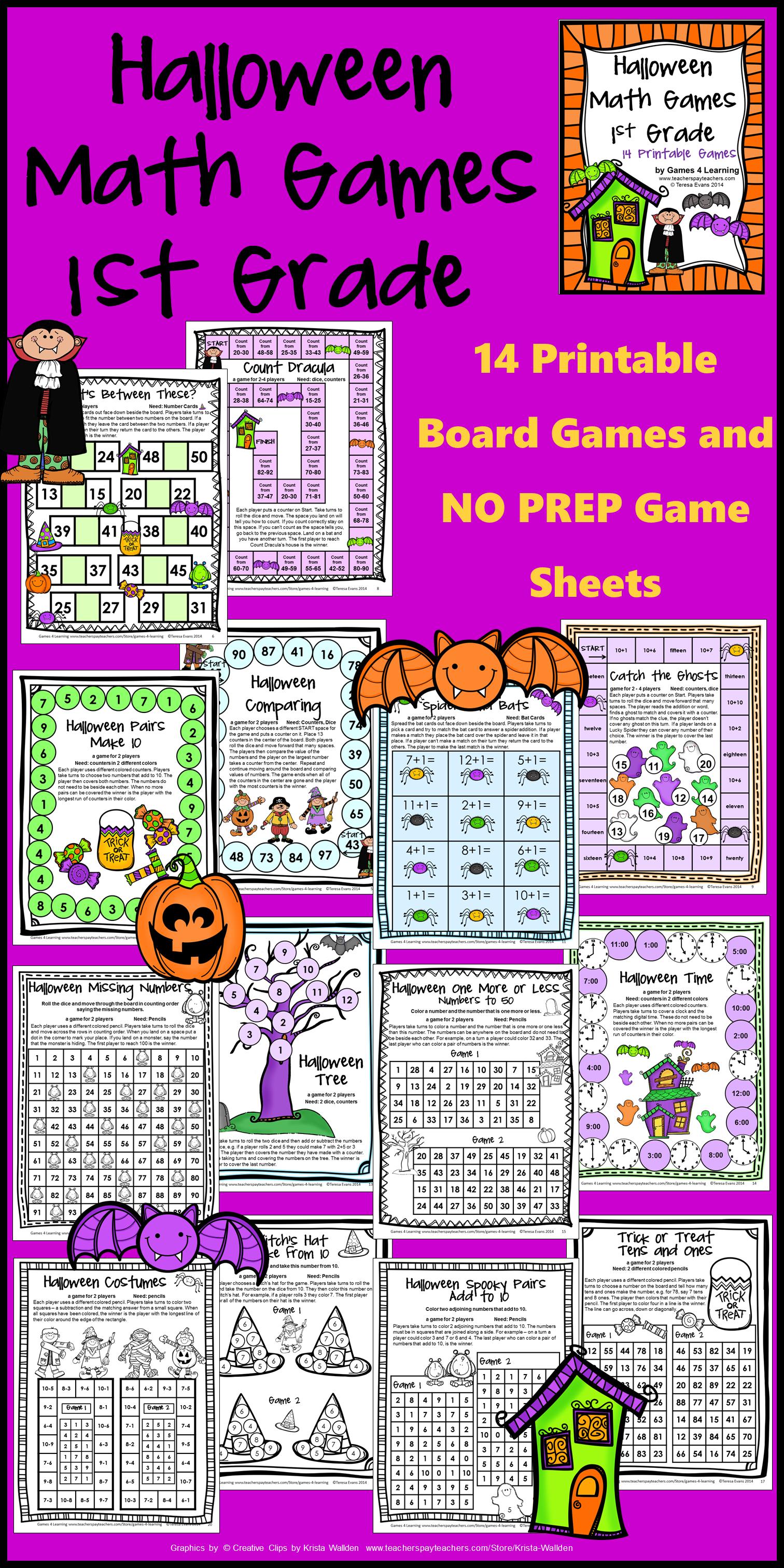 Halloween Activities Halloween Math Games 1st Grade