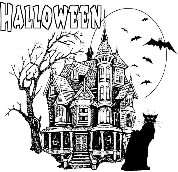 Printable Halloween Haunted House Coloring Pages Pagine Da