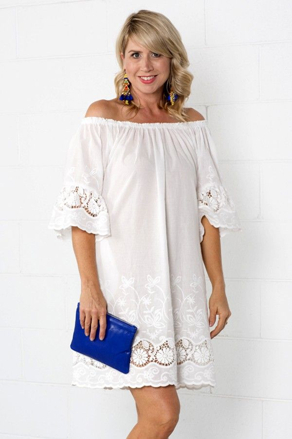 White Wonder #outfit #outfitidea #white #dress #beach #coverup #offtheshoulder #angalise #lace #summer #style