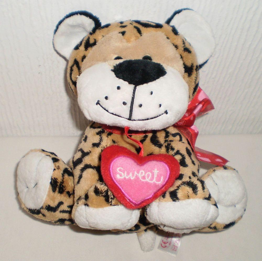Tesco Soft Toy Plush Leopard Animal Embroidery Sweet Love Heart Ribbon c701156d01f7
