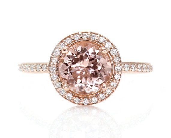 18K Morganite Engagement Ring Round Diamond Halo Morganite Ring White Yellow or Rose Gold Custom Engagement Ring