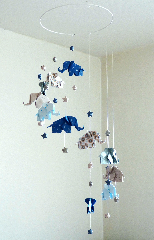Mobile Baby Origami Elefanten Und Stars Blau Taupe Weiss Etsy