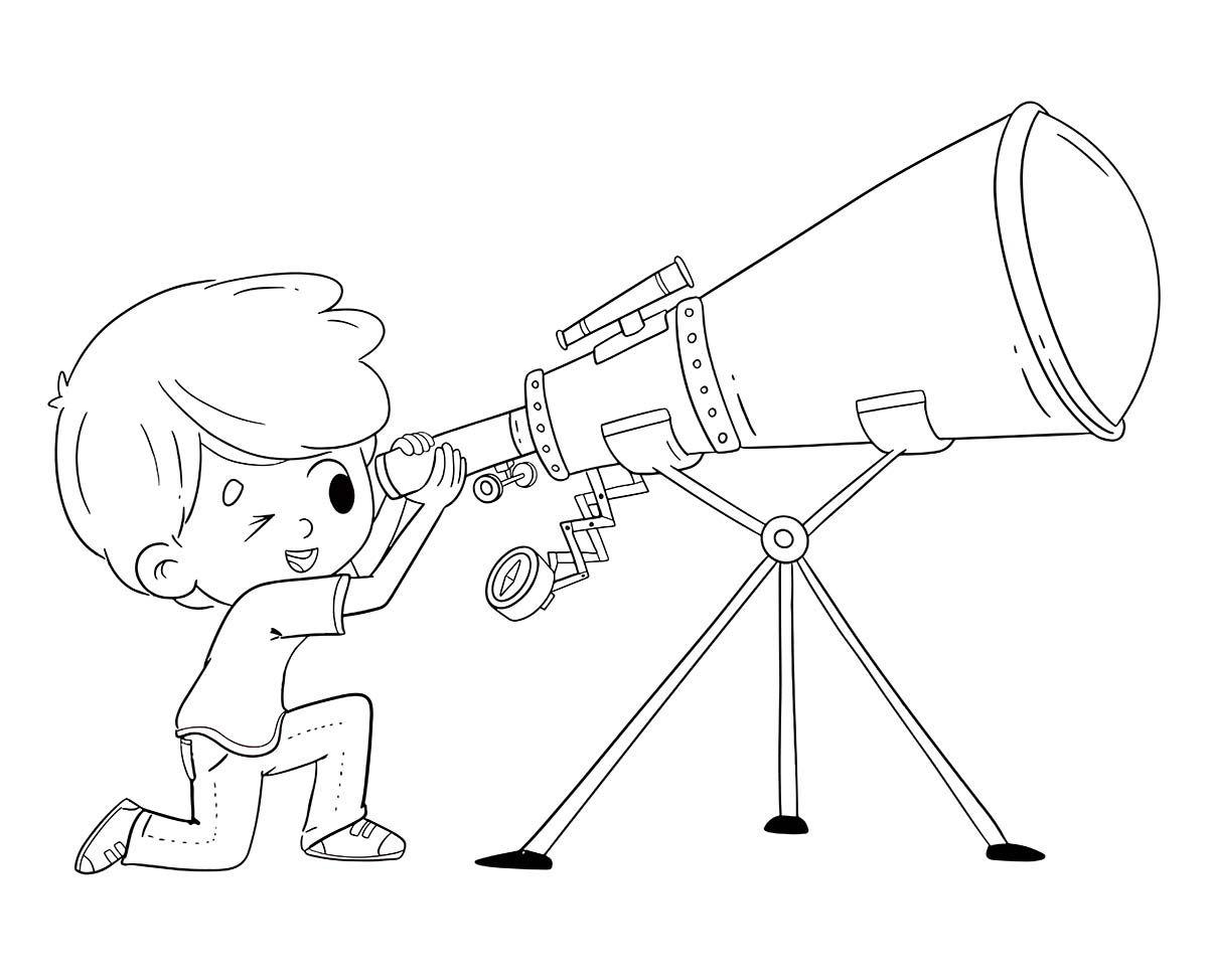 Boy Looking Through Telescope Coloring Page Paginas Para Colorear Ilustraciones Ilustraciones Infantiles