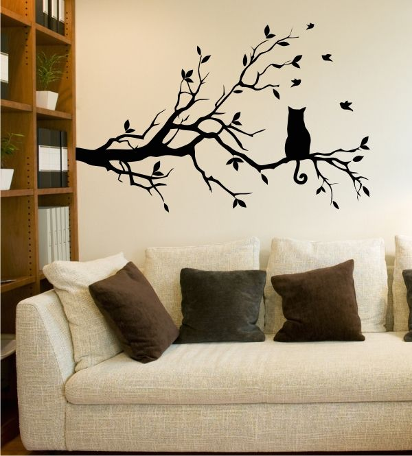 ast mit katze wandtattoo ast tiere katze baum wandsticker cat bloom. Black Bedroom Furniture Sets. Home Design Ideas