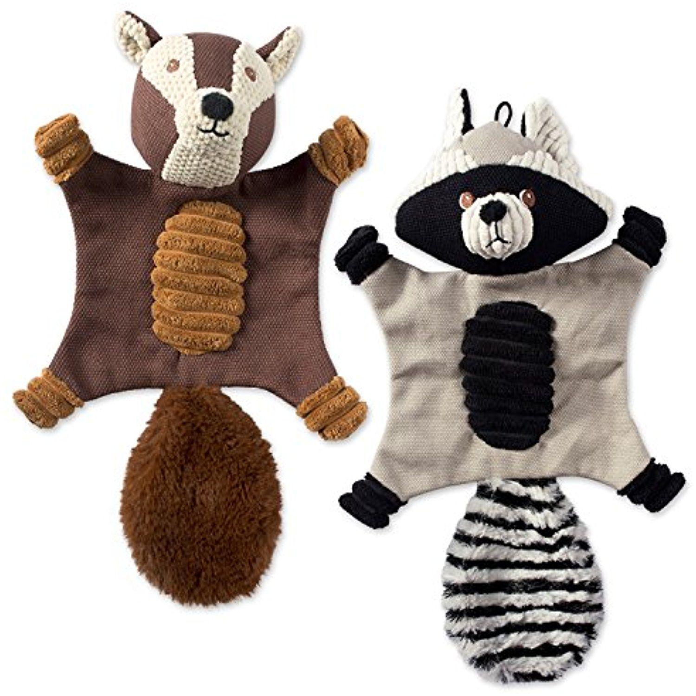 Dii Bone Dry Flat Body Squeaking Pet Toy 2 Pieces Jack Squirrel