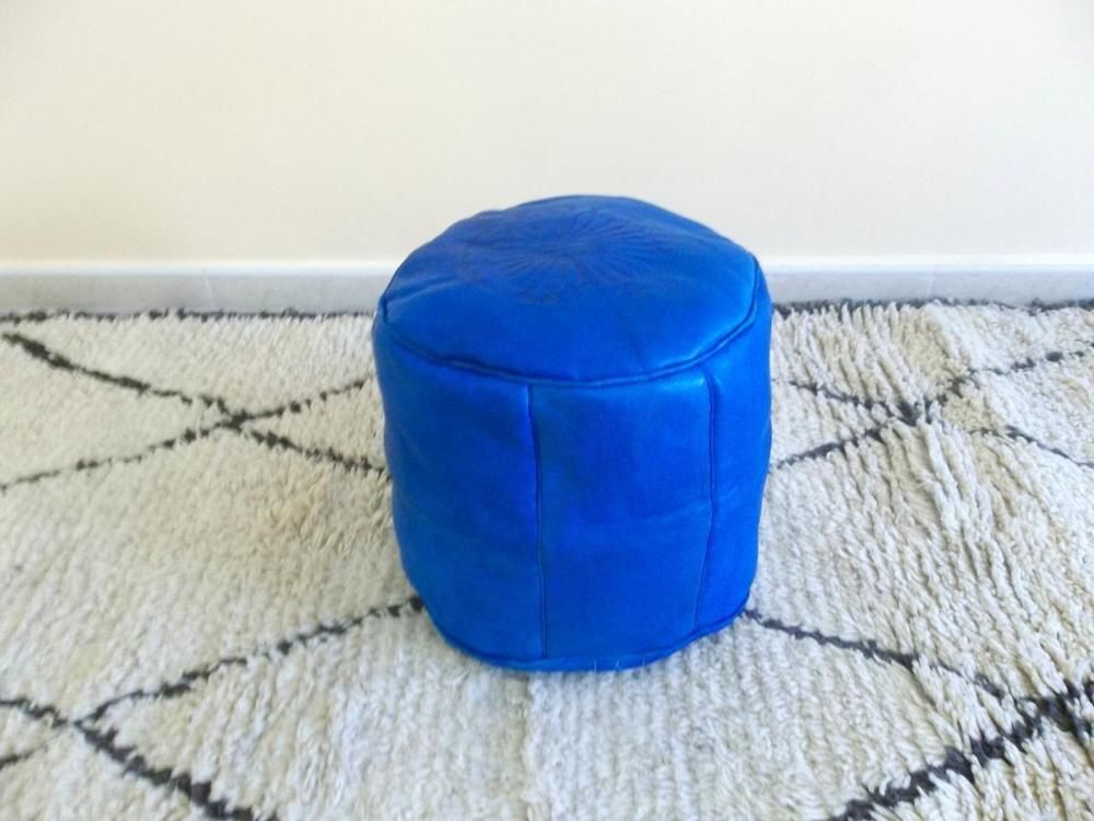 Moroccan Pouf Tabouret Leather Ottoman Unstuffed Pouffe Hassock Footstool Blue Traditional Leather Ottoman Moroccan Pouf Pouffe