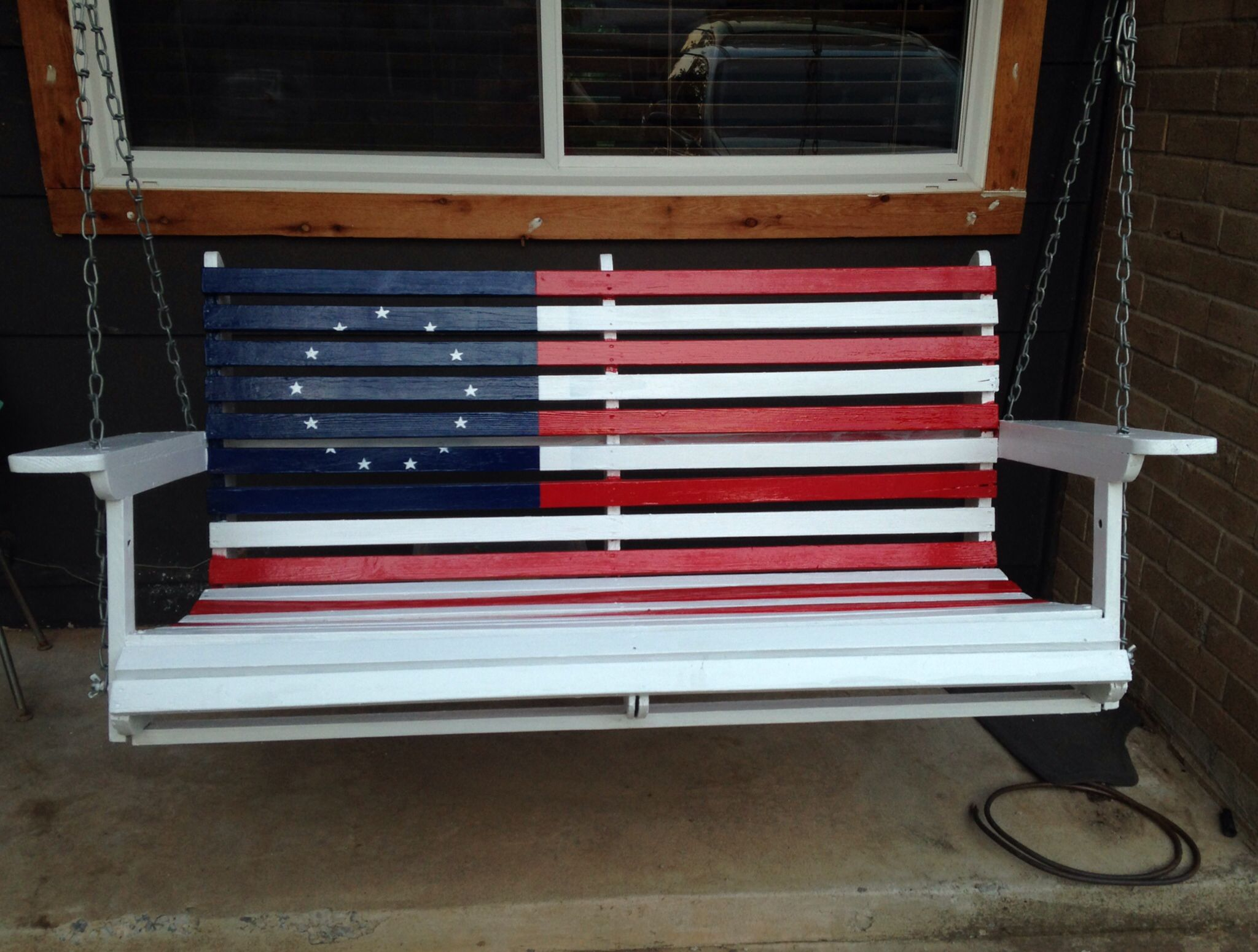 Patriotic Porch Swing Porch Paint Porch Swing Flag Decor