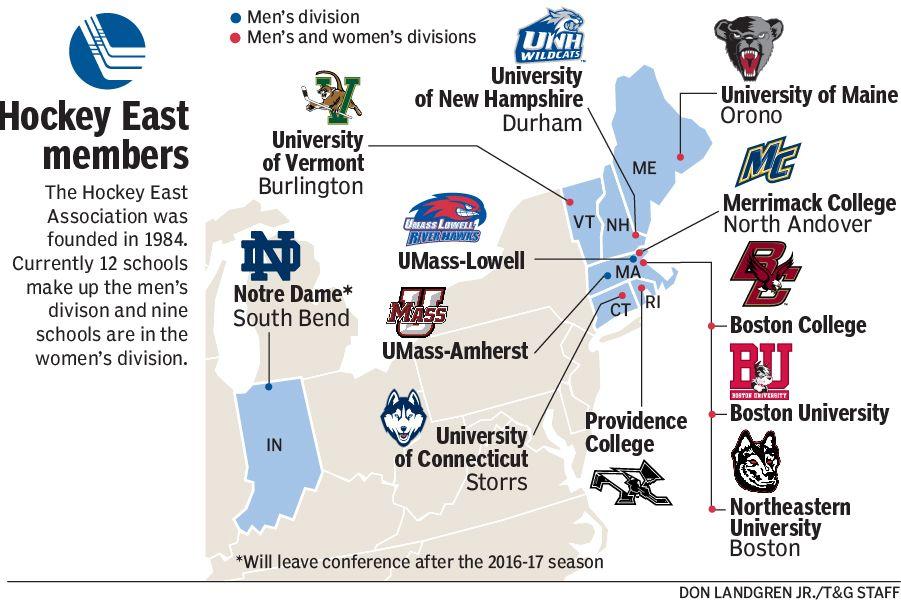 Hockey East Teams Map University Of New Hampshire Burlington University Of Maine