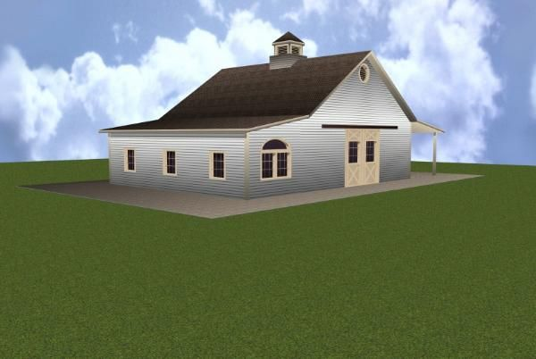3 Stall Horse Barn Plan with Apartment | Log Homes | Pinterest ...