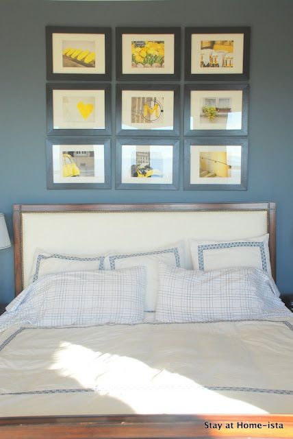 gorgeous photo wall.... LOVE the yellow with the gray blue!!!!