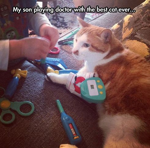 My son playing doctor...