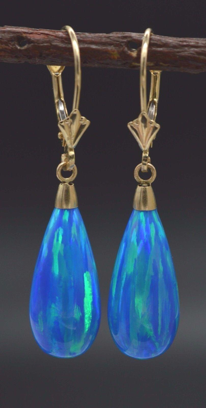 14K White Gold Teardrop Blue Green Fire Opal Leverback Dangle Earrings