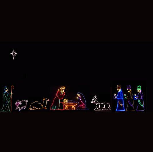 Lighted outdoor nativity scene holidays pinterest christmas lighted outdoor nativity scene mozeypictures Choice Image