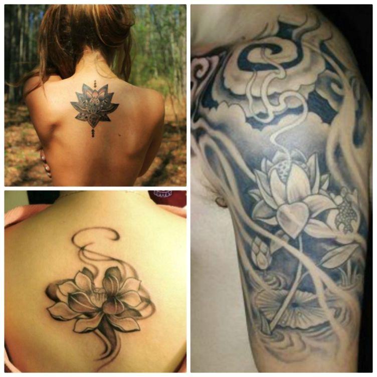 modele tatouage femme lotus tatouage black lotus tatouages paule et dos tatoo pinterest. Black Bedroom Furniture Sets. Home Design Ideas