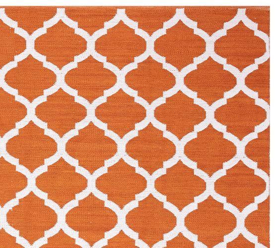 Becca Tile Reversible Indoor/Outdoor Rug   Orange | Pottery Barn