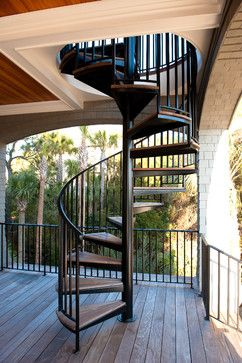 Deck With Spiral Stairs Design Ideas, Pictures, Remodel And Decor