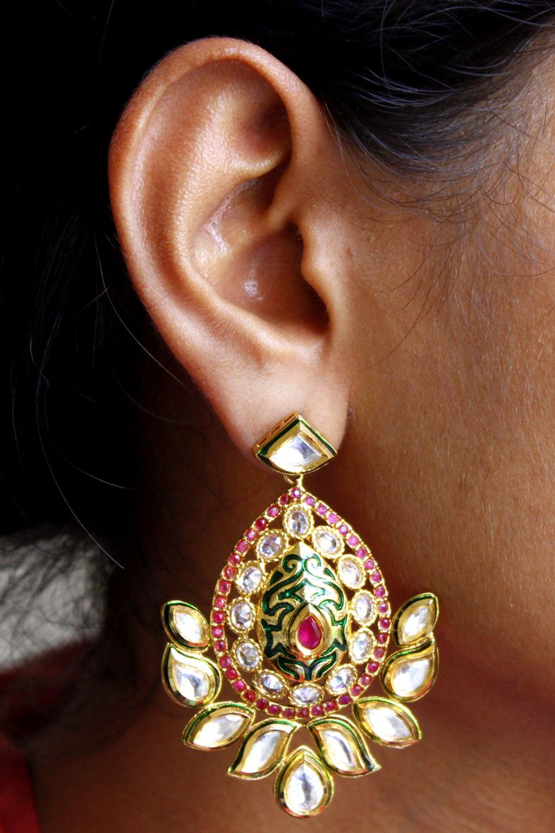 Kundan Long Chandbali Earrings In Multicolor For Wedding Wear Bollywood Fashion For Ethnic Indian Traditional Look