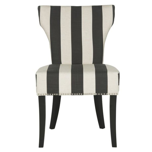 Safavieh En Vogue Dining Matty Black And White Striped Dining Chairs