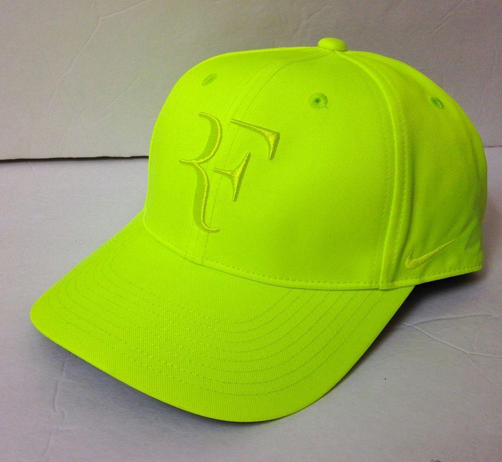new NIKE ROGER FEDERER RF TENNIS HAT DryFit Polyester Neon Volt Yellow Men  Women  Nike 22a9f3bfab