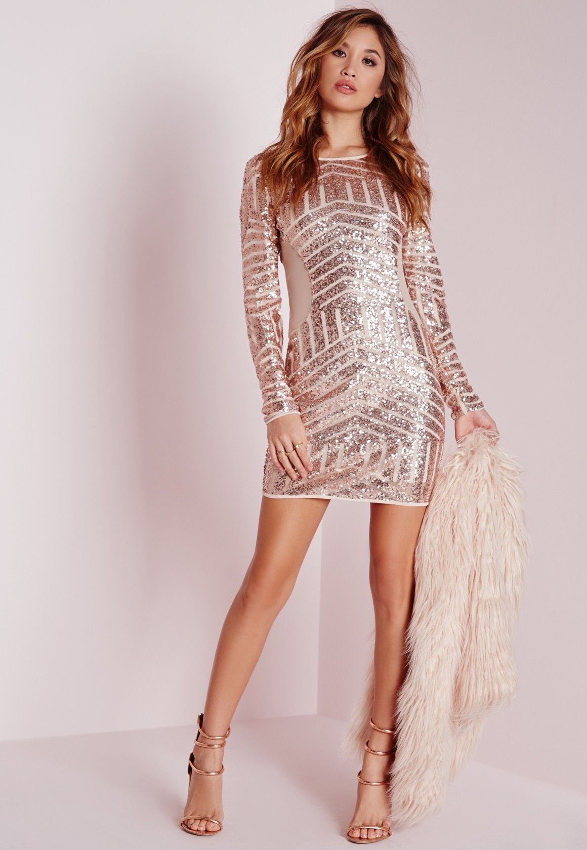 Long sleeve sequin bodycon dress rose gold pinterest bodycon