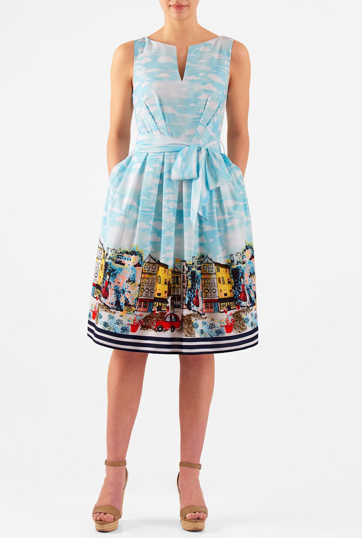 Havana print sash tie crepe dress