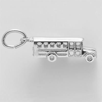 Rembrandt Sterling Silver School Bus Charm on a Sterling Silver Rope Chain Necklace