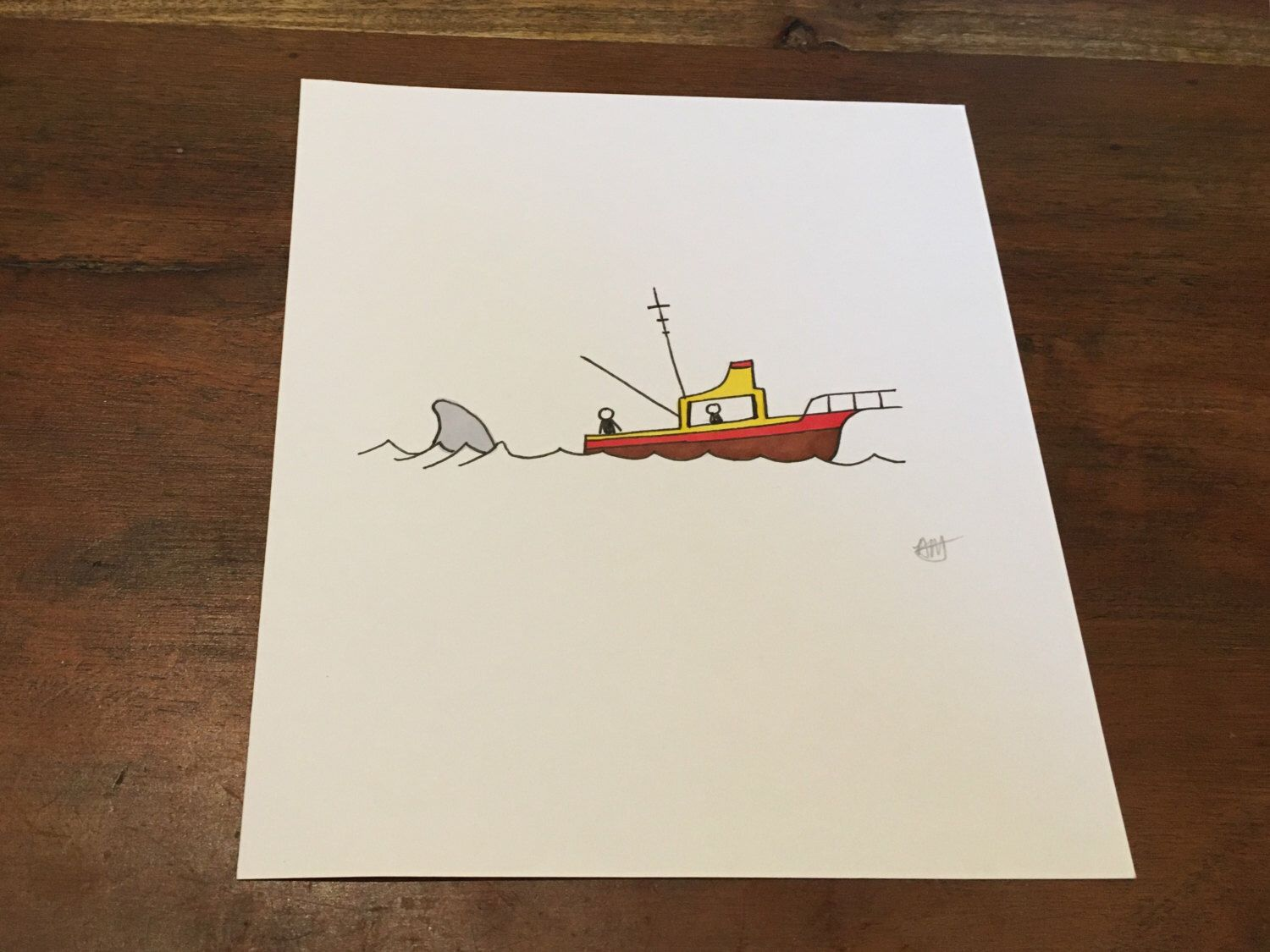 Shark Boat - Handmade Original Artwork by Adele Mary - Inspired by the Movie Jaws- Ink Drawing by AdeleMaryArts on Etsy (null)