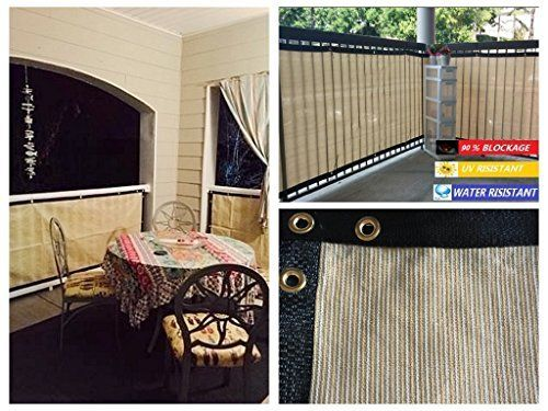 Privacy Screen Fence Mesh Windscreen Backyard Deck Patio Balcony 35 Inches  Height Beige (Customized Sizes