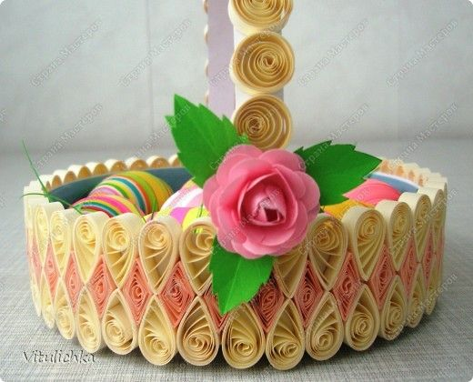 Master class crafts product quilling easter baskets for Quilling strips designs