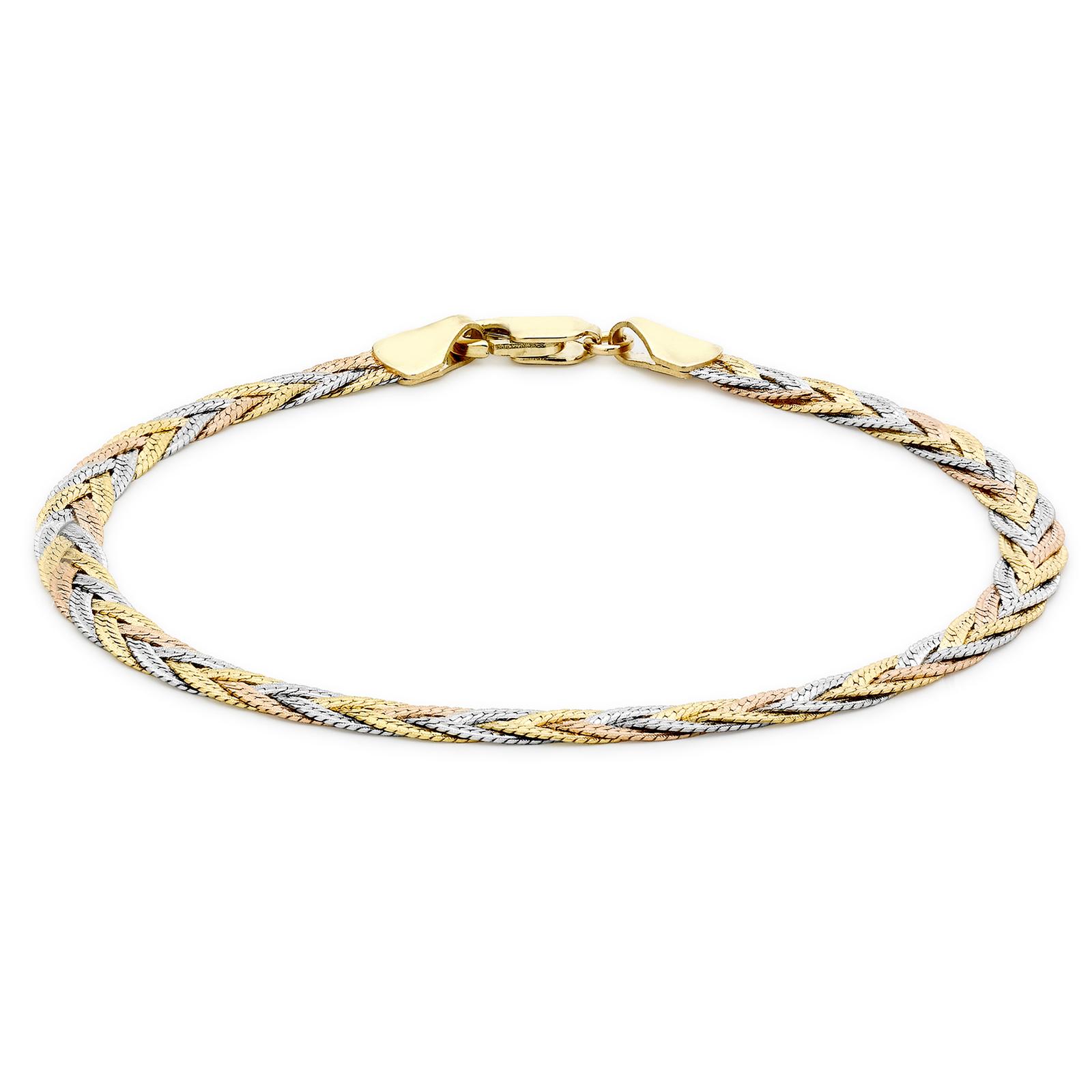 59ca86ca8b1d12 9ct Tricolour Gold Plait Herringbone Bracelet | Bracelets | Jewellery |  Goldsmiths