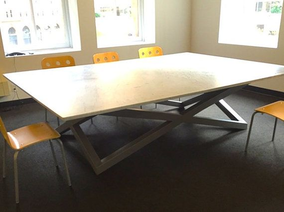 Custom Conference Table Powder Coated Grey Steel Base With A White - White marble conference table
