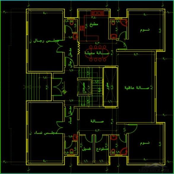 مخطط دور ارضي و شقتين بالاعلي نمط سعودي Arab Arch House Plans How To Plan Image