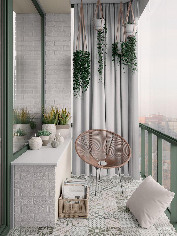 Skandinavisches Interieur mit Gartengrün - Dekoration Ideen #smallbalconydecor