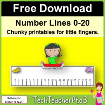 Number Lines 0 to 20 Unicorns Stars Construction Pirates FREE