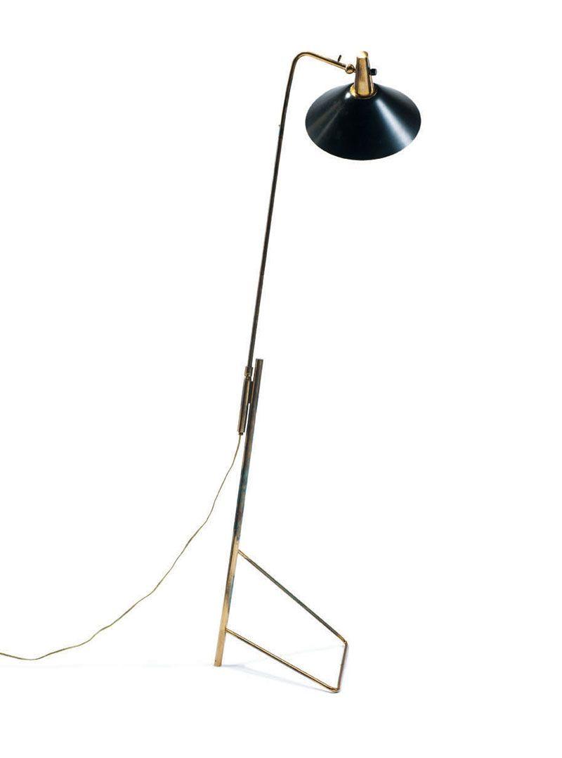 Gino Sarfatti; #1045 Brass and Enameled Metal Floor Lamp for Arteluce, 1951.