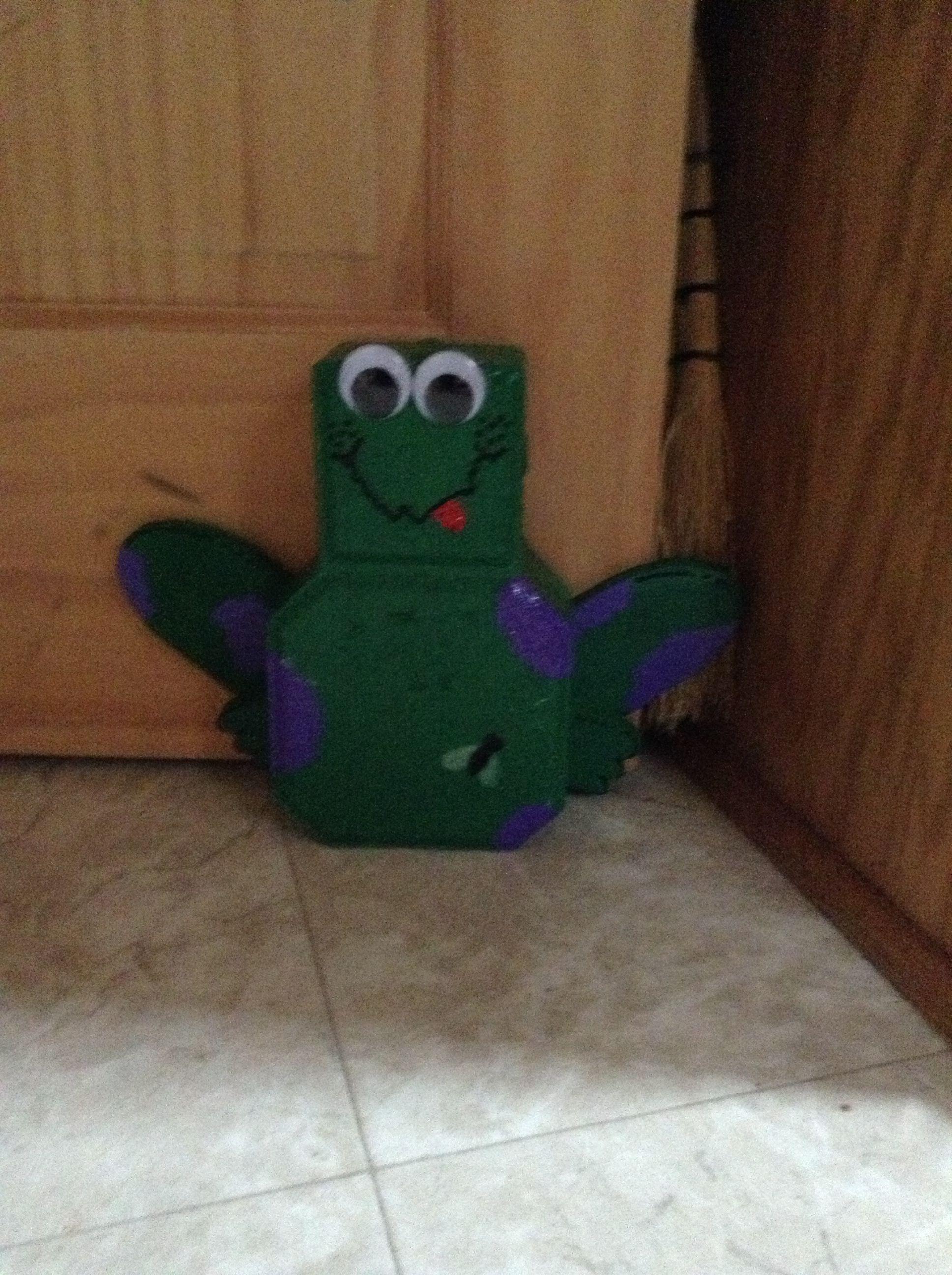 Frog door stopper from a landscaping block