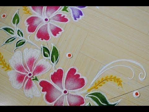 Butterfly Flower Rangoli Painting Effect Rangoli Muruja Jhoti Kolam New Year Rangoli 3d Rangoli Y Rangoli Designs Colorful Rangoli Designs Rangoli Painting