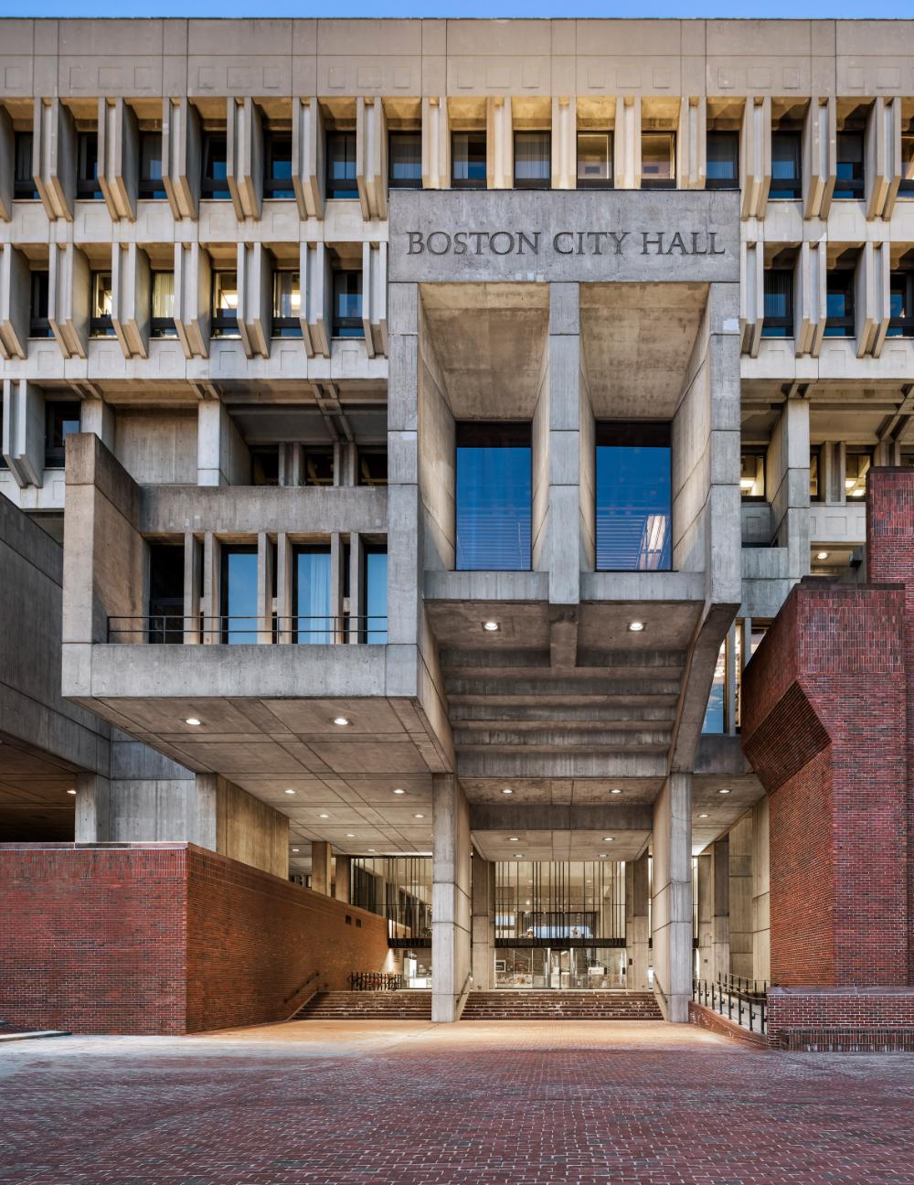 Boston City Hall Renovation Preserves Honesty Of Brutalist Building Boston City Hall Brutalist Buildings Boston Architecture