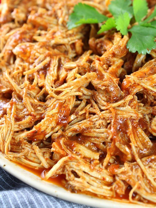 Shredded Mexican Chicken (Instant Pot + Slow Cooker) Shredded Meat Up Close #mexicanchickentacos
