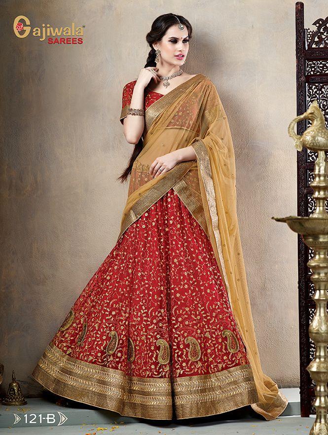 f3ff45ccae3 Brown Net Wedding Bridal Lehenga Choli with Dupatta t