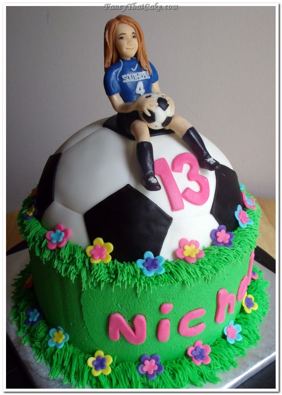 Soccer Girl Birthday Cake cakepinscom bday Pinterest Girl