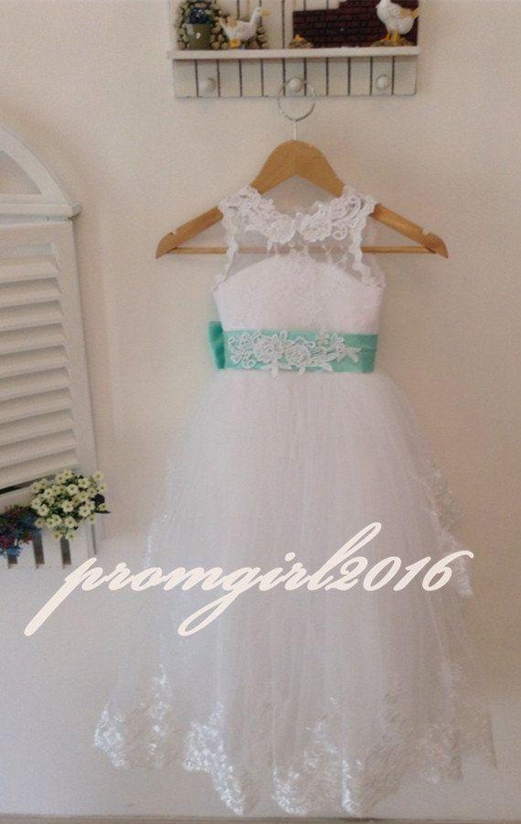 Lace Flower Girl Dresses Tulle Flower Girls Dress by promgirl2016