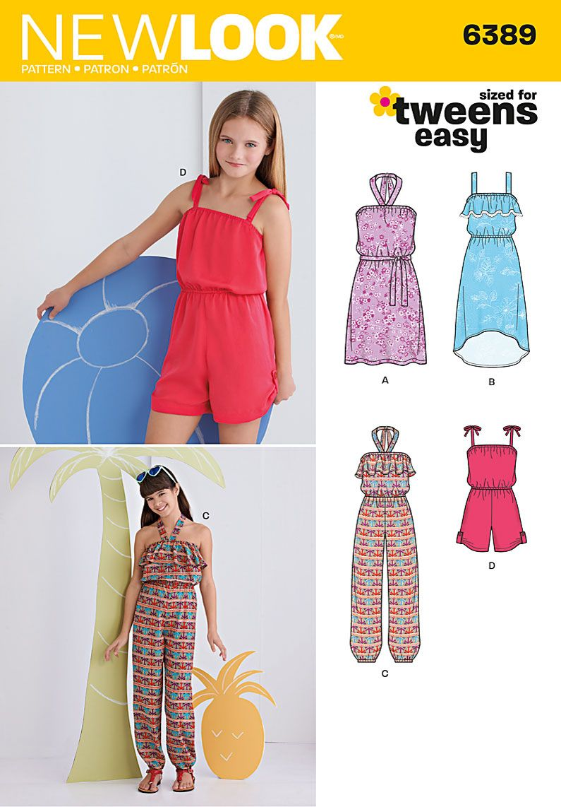 ba0cee53544c85 New Look pattern 6389 includes jumpsuit, romper, short dress and high low  dress for girls – and they're EASY to sew! Jumpsuit and short dress have  halter ...