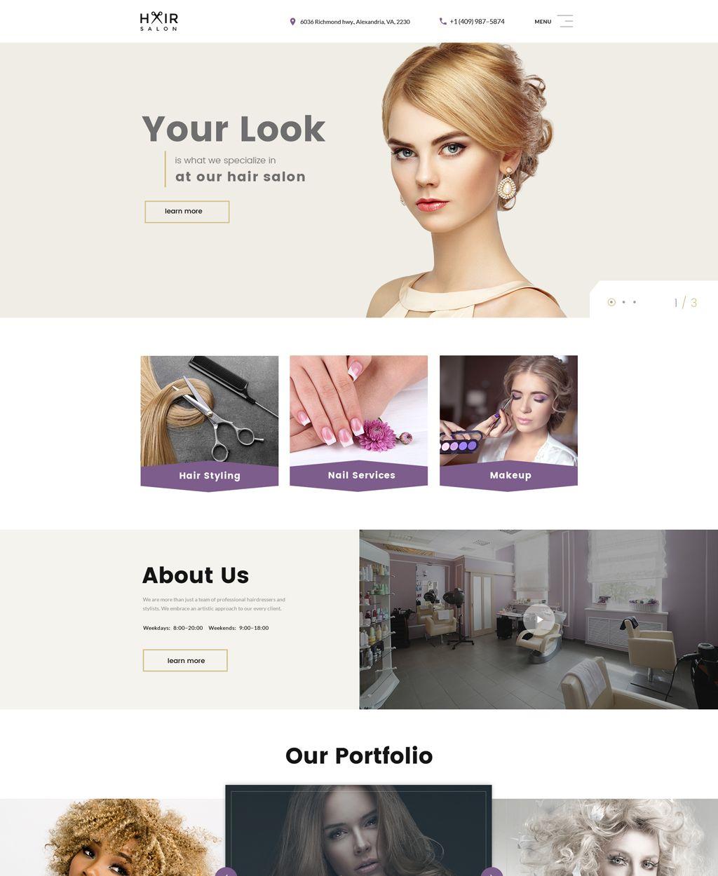 Hair Salon Website Template Hair Salon Website Design Salon Website Hair Salon